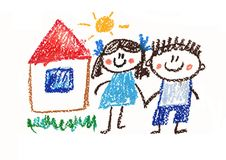 Happy boy and girl. Man and woman. Kids drawing style illustration. Crayon art. House, summer, sun
