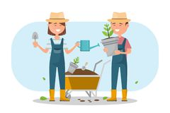 Happy boy and girl planting a tree outdoors. Farmer character design vector illustration royalty free illustration