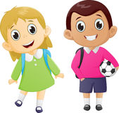 Happy boy and girl ready to go back to school Royalty Free Stock Photos