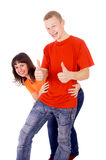 Happy boy and girl, show well ,OK Stock Photography