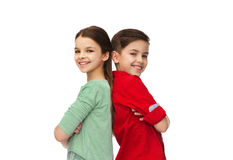 Happy boy and girl standing together Royalty Free Stock Image