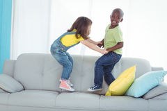Happy boy and girl standing up Stock Images