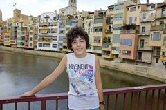 Happy Boy in Girona, Spain Royalty Free Stock Photography