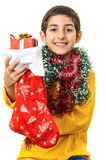 Happy boy giving Christmas gift Royalty Free Stock Photography