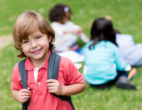 Happy boy going to school Stock Photos
