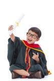 Happy boy in graduation suit Stock Photography