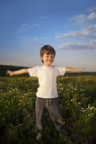 Happy boy on green field Stock Images