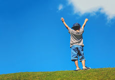 Happy boy on green grass against blue sky Royalty Free Stock Photography