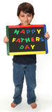 Happy Boy with Happy Fathers Day Sign stock photography