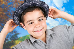 Happy boy  with hat. Happy and smilling boy  with hat Royalty Free Stock Photography