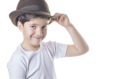 Happy boy. With hat on a white background Royalty Free Stock Images
