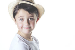 Happy boy. With hat on a white background Stock Photo