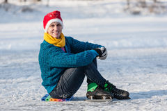 Happy boy having fun on ice skates. Stock Photo
