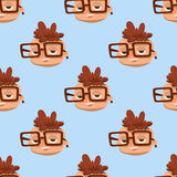 Happy boy head child seamless pattern young male dressed like grown man character vector illustration Royalty Free Stock Images
