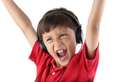 Happy boy in Headphones Royalty Free Stock Photo
