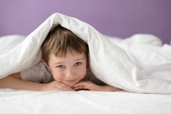 Happy boy hiding in bed under a white blanket or coverlet Stock Photos