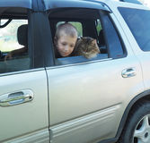 Happy boy and his companion cat in the car.  Stock Image