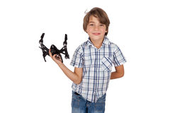 Happy boy with his drone stock photography