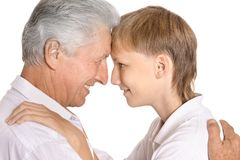 Happy boy and his grandfather Stock Photography