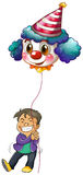 A happy boy holding a clown balloon Royalty Free Stock Images