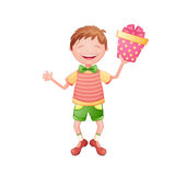 Happy boy holding a gift box Stock Image