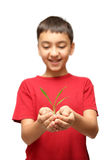 Happy boy holding plant in hands Royalty Free Stock Images