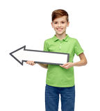 Happy boy holding white blank arrow banner Royalty Free Stock Photography