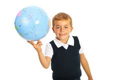 Happy boy holding world globe Stock Images