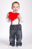 Happy boy holds heart in hands Royalty Free Stock Photography