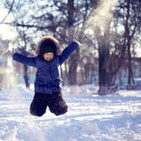 Happy boy jump outdoors Royalty Free Stock Image