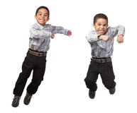 Happy boy jumping Stock Images