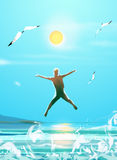 Happy boy jumping on the beach sea. Happy boy, seagull on blue cky and sun, beach sea. Summer holiday sun day.  Hand drawn, Digital Illustration Royalty Free Stock Photo
