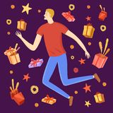 Happy boy jumping with gift boxes around him Royalty Free Stock Photo