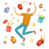 Happy boy jumping with gift boxes around him Stock Photo