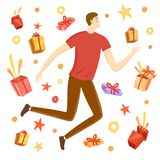Happy boy jumping with gift boxes around him Royalty Free Stock Photos