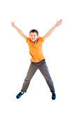 Happy boy jumping. Isolated on white background Royalty Free Stock Photos