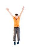 Happy boy jumping. Isolated on white background Stock Photo