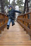 Happy boy jumping and running on a wooden bridge in the forest royalty free stock images
