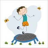 Happy boy jumping on the trampoline. Original hand drawn illustration of a happy boy jumping on the trampoline Stock Photos
