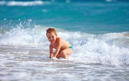 Free Happy Boy Kid Having Fun In Sea Water Royalty Free Stock Photos - 34230198