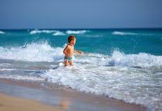 Happy boy kid having fun in sea water Royalty Free Stock Images