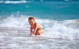 Happy boy kid having fun in sea water Royalty Free Stock Photos