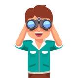 Happy boy kid looking through binoculars. Happy and curious little boy kid looking through binoculars. Flat style vector illustration  on white background Royalty Free Stock Photos