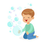 Happy boy kneeling playing bubbles vector Illustration. Isolated on a white background Royalty Free Stock Photo
