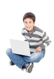 Happy boy with the laptop Royalty Free Stock Images