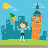 Happy Boy Launches Kite in London. Vector Stock Images