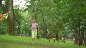 Happy boy launching kite in park, leisure activity outdoors, carefree childhood. Stock footage stock video