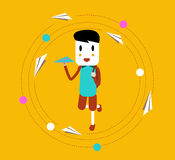 Happy boy learning and throwing paper airplane. Royalty Free Stock Photography