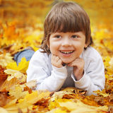 Happy boy in leaves Stock Photo