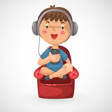 Happy boy listening to music. Illustration of isolated happy boy listening to music Royalty Free Stock Photography